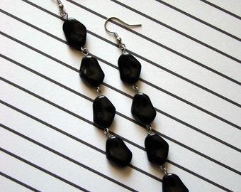 SALE - Black Long Dangle Earrings - Classic Black Unique Shape - Bella Mia Beads - READY to SHIP