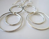 Triple hoop sterling silver statement earrings, modern fashion, bohemian, shoulder dusters, metalsmith, hand hammered, made to order