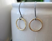 Small hammered brass hoop earrings on sterling silver French ear wires, modern, rustic, hand hammered, geometric shape, boho, ready to ship