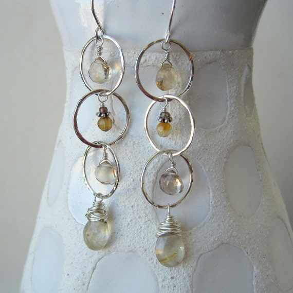 Ametrine, rutilated quartz, sapphire, and sterling silver hoop chain earrings - ready to ship