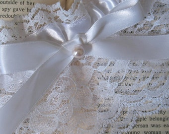 Sweet Nothings | White Bridal Garter, White Lace, White Satin, Bow and Pearl, Handmade Wedding - Ready to Ship
