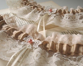 Ma Cherie | Bridal Garter Set, Ivory Lace with Caramel Satin, Vintage Lace Bow and Pearl, Handmade Wedding, Shower Gift - Ready to Ship