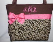 Hot Pink  Accents .. Cheetah ... LEOPARD  Print.... Diaper  Bag .. Bottle Pockets  Personalized FREE