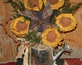 EPATTERN -- Primitive Sunflowers and Pinwheel Gathering Ornaments Ornies Bowl Fillers Tucks Pattern