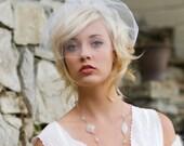 Wedding veil, birdcage veil, wedding hair accessory, mini blusher veil, ready to Ship, Style 772