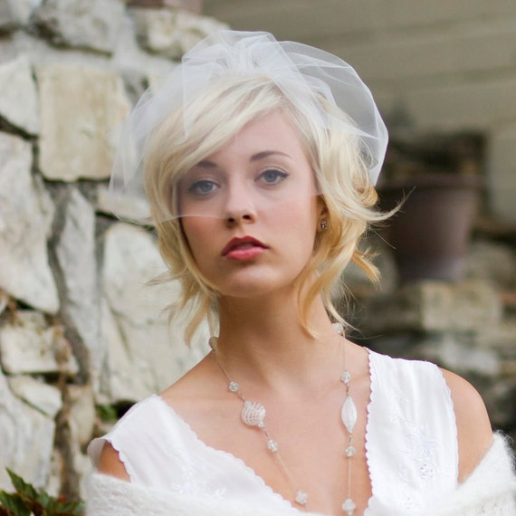 Wedding veil, birdcage veil, wedding hair accessory, mini blusher veil, ready to Ship, Style 772