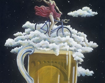 Manayunk, Where we go to drink, matted print, Philadelphia PA, Girl on Bike with Beer and Manayunk Bridge