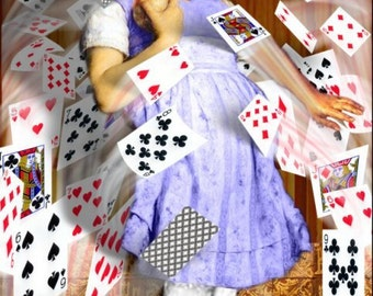 The Cards Attack - 11x14 Alice In Wonderland Inspired Fantasy Collage Print