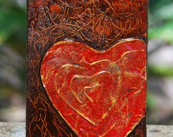 Heart Art original painting 4x6
