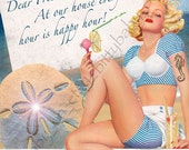 "Happy Hour PinUp 8""x10"" Digital Collage Print Beachy"