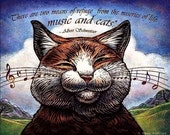 "Music Cat 8"" x 10"" Whimsical Cat Portrait- Cat Wall Decor"