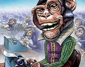 "Infinite Monkey Theorem- 8"" x 10"" Whimsical Chimp Art Print"