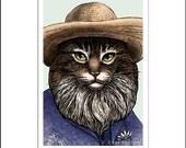 """Clawed Monet- 8"""" x 10"""" Portrait of Artist Claude Monet as a Cat"""