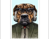 "I. Lick Asimov 8"" x 10"" Portrait of Isaac Asimov as a Dog- Whimsical Science Fiction Wall Decor- Dog Lover Gift"