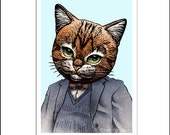 "Truman Catpote- 8"" x 10""Author Truman Capote Portrait as a Cat"