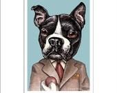 "F. Scott Fetchgerald- ""8 x 10"" Matted Art Print- Whimsical Dog Portrait- Boston Terrier as F. Scott Fitzgerald"