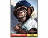 Monkey Mantle- Whimsical Portrait of Baseball Legend Mickey Mantle as a Chimp