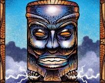 """Tempest Tiki 8"""" x 10"""" Tiki Wall Decor- Mysterious Tiki Art Print"""
