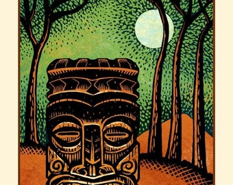 "Nocturnal Tiki- 8"" x 10"" Tiki Wall Decor"