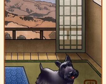 Scottish Terrier Japanese Styled Print