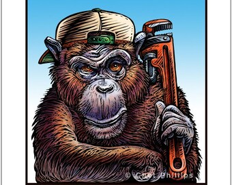"Monkey Wrench 8"" x 10"" Monkey with Monkey Wrench- Whimsical Monkey Art"
