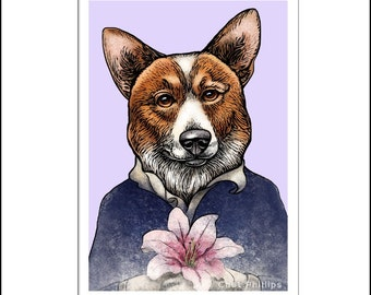 "Corgi O'Keeffe- 8"" x 10"" Portrait Print of Georgia O'Keeffe as Corgi Dog"