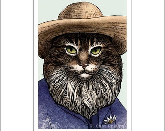 "Clawed Monet- 8"" x 10"" Portrait of Artist Claude Monet as a Cat"
