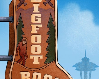 Bigfoot Boots- Googie Sign Print