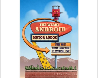 Weary Android Motor Lodge- Googie Sign Print