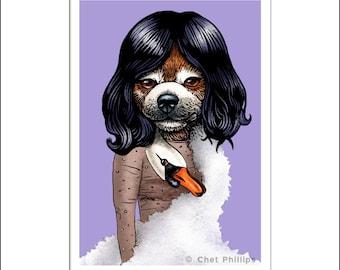 """Bjärk- 8"""" x 10"""" Whimsical Dog Portrait as Singer Bjork"""