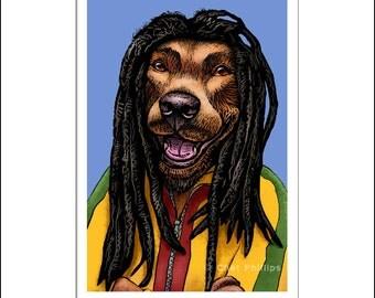 """Dog Marley- 8"""" x 10"""" Reggae Musician Bob Marley as a Dog"""