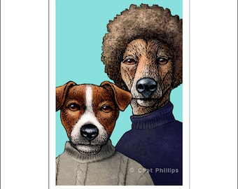 "Simon and Barkfunkel- 8"" x 10"" Art Print Portrait of Simon and Garfunkle as Dogs"