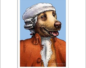 "Wolfgang Amadeus Mozarf- 8"" x 10"" Retreiver Dog as Mozart- Whimsical Dog Art Print"