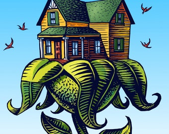 "Green Home- 8"" x 10"" Art Print of Flower House"