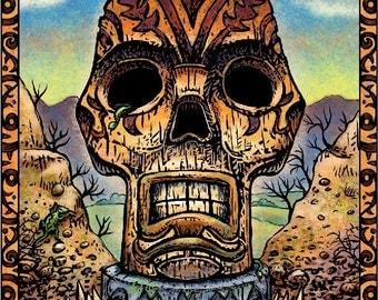 """Skull Tiki- 8"""" x 10"""" Tiki Skull Wall Decor"""
