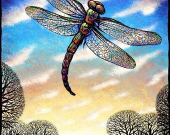 "Cathedral 8"" x 10"" Dragonfly Wall Decor- Dragonfly Art Print"