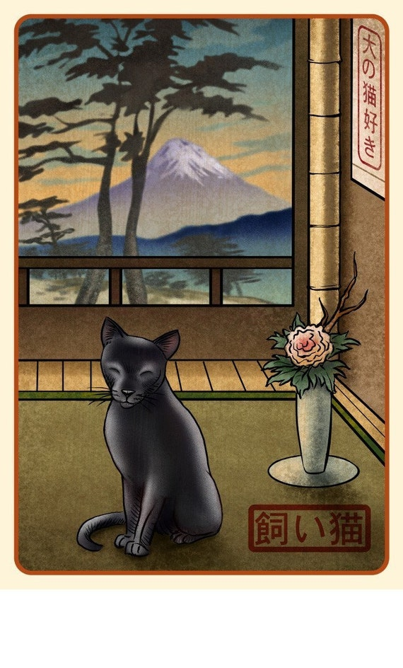 Black Cat Japanese Styled Print