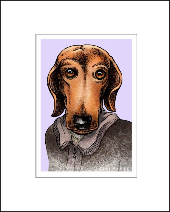 Virginia Woof- Whimsical portrait of Author Virginia Woolf as a Dachshund