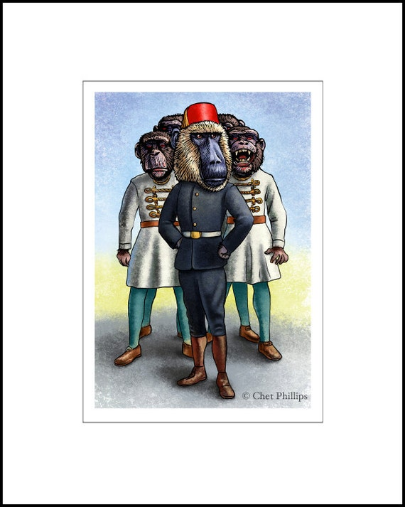 "Captain Uther Wigglesgig ""8 x 10"" Monkey Zombie Whisperer- Monkey Art Print"