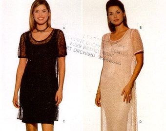 Butterick 5455 Easy Dress and Overlay Designer Chetta B Size 8 10 12 UNCUT Sewing Pattern 1998