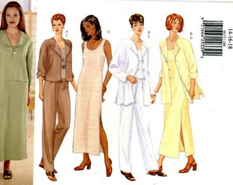 Butterick 6015 Classic Easy Jacket, Top, Dress and Pants Wardrobe Size 14 16 18 UNCUT Sewing Pattern 1999