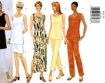 Butterick 5549 Easy Dress, Tunic Top, Skirt and Pants Capri Size 6 8 10 UNCUT Sewing Pattern 1998