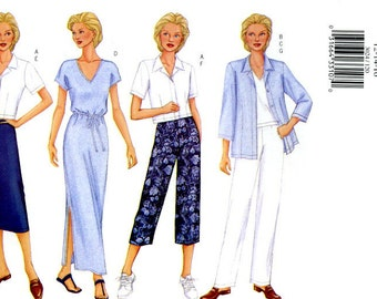 Butterick 3024 Easy Jacket, Dress, Top, Skirt and Pants Capri Size 12 14 16 UNCUT Sewing Pattern 2001