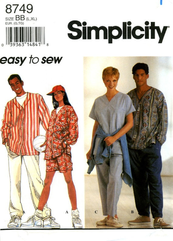 Simplicity 8749 Easy Unisex Men Misses Shirts, Pull On Pants or Shorts and Baseball Cap Size 42 44 46 48 UNCUT Sewing Pattern 1996
