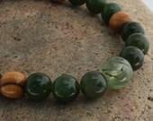 Jade Wrist Mala w Prehnite and Olive Wood Yoga Mala Bracelet Beadwork for Joy Peace Healing
