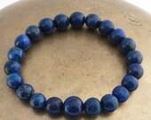 Grade A/B Lapis Lazuli Wrist Mala w Lapis Guru Bead - Lapis Mala Bracelet