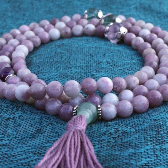Lilac Stone Mala Necklace w Rainbow Fluorite, Amethyst & Sterling Flowers - Yoga Meditation Mala Beads