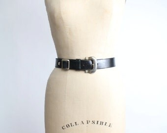 Barbieri Black Leather Belt  | Vintage Italian Leather Belt | Studded Black Leather Belt | S