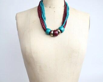 Painted Bone Beaded Necklace  | Vintage Multi-Strand Necklace | Chunky Beaded Necklace