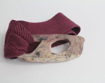 Sculptural Buckle Belt | Clay Buckle and Woven Cotton Belt | XS
